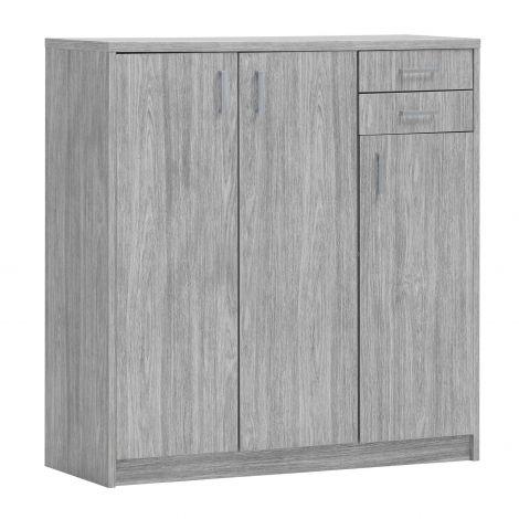 Commode Spacio 3 portes & 2 tiroirs H 110cm - chêne gris