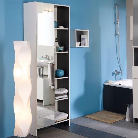 Colonne Artem 59cm avec 1 porte miroir - blanc