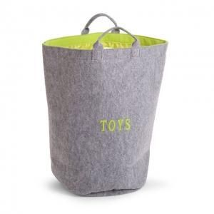 Sac à jouets en feutre rond - gris/vert