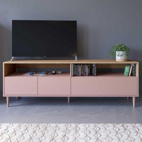 Meuble TV Horizon - chêne/rose