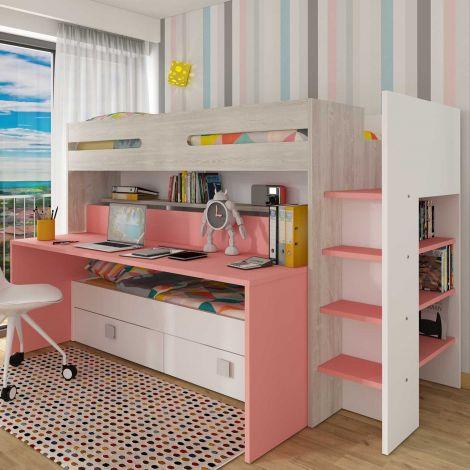 Lit mezzanine Billy avec bureau - rose