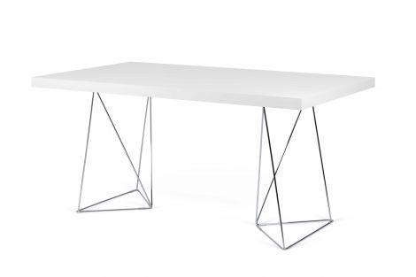 Table Multis - blanc/pieds chromés