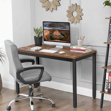 Table de bureau Joris 120cm - brun rustique/noir