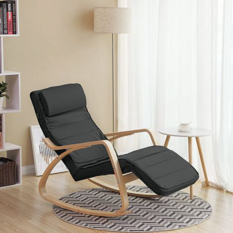 Chaise à bascule Romy - gris foncé/bouleau