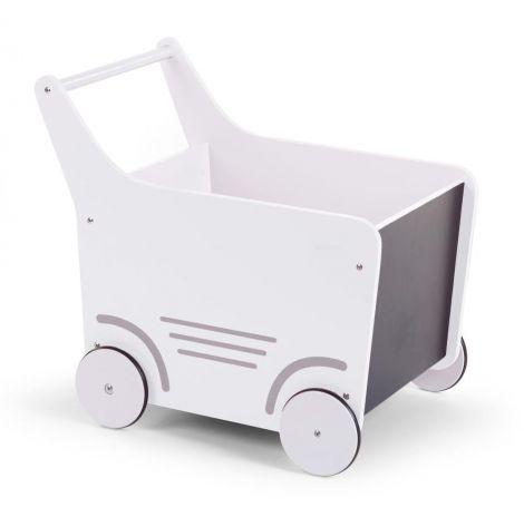 Chariot de marche en bois - blanc