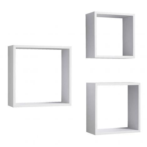 Jeu de 3 cubes muraux Shelvy carrés - blanc