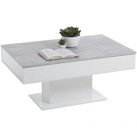 Table basse Lola 1 tiroir - béton/blanc brillant