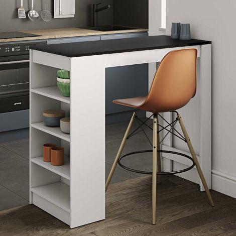 Table de bar Aravis 115x50 avec rangement - blanc/noir