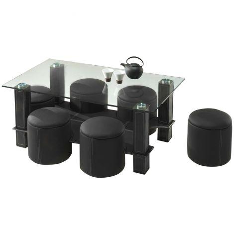 Table basse Bent avec 6 poufs - verre/noir