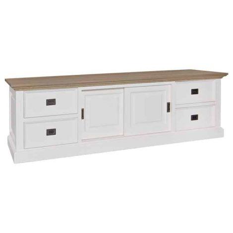 Meuble tv Oakdale 200cm 2 portes & 4 tiroirs - blanc/chêne