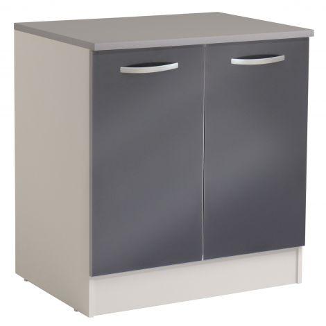 Meuble bas Spott 80 cm avec 2 portes - glossy grey